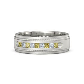 Men's 14K White Gold Ring with Yellow Sapphire & Diamond