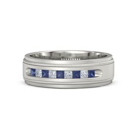 Men's 18K White Gold Ring with Sapphire & Diamond