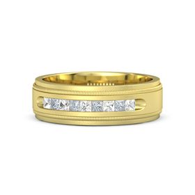 Men's 18K Yellow Gold Ring with Rock Crystal & Diamond