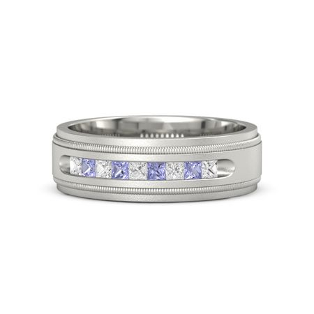 17707b070db8f Milgrain Crown Band (2mm gem) - 14K White Gold Ring with White Sapphire and  Tanzanite