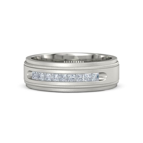 Platinum Ring With Diamond Milgrain Crown Band 2mm Gem Gemvara