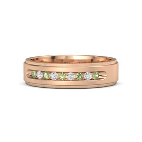 Men's 14K Rose Gold Ring with Peridot & White Sapphire