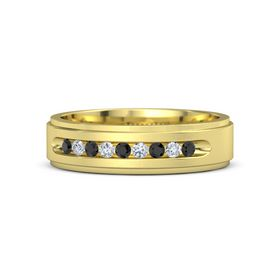 Men's 14K Yellow Gold Ring with Black Diamond & Diamond