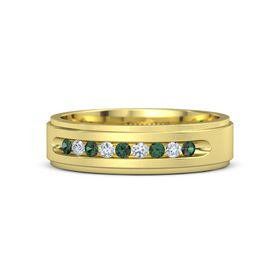 Men's 14K Yellow Gold Ring with Alexandrite & Diamond