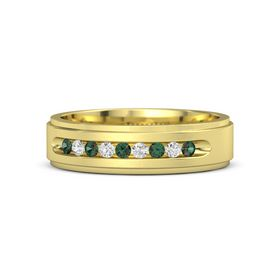 Men's 14K Yellow Gold Ring with Alexandrite & White Sapphire
