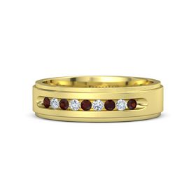 Men's 18K Yellow Gold Ring with Red Garnet & Diamond