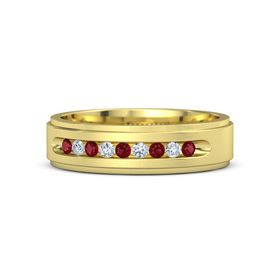 Men's 18K Yellow Gold Ring with Ruby & Diamond