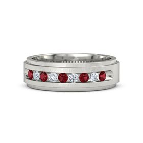 14K White Gold Ring with Ruby and Diamond