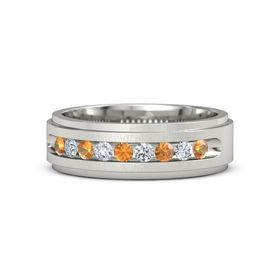 Men's 18K White Gold Ring with Citrine & Diamond