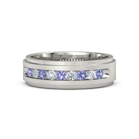 Men's 18K White Gold Ring with Iolite & Diamond