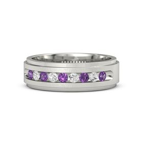 Palladium Ring with Amethyst and White Sapphire