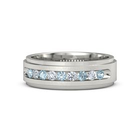 Men's Platinum Ring with Aquamarine & Diamond