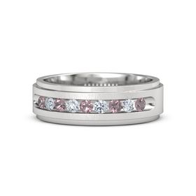 Men's Sterling Silver Ring with Rhodolite Garnet & Diamond