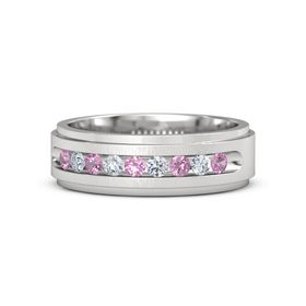 Men's Sterling Silver Ring with Pink Tourmaline & Diamond