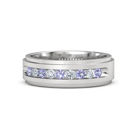 Men's Sterling Silver Ring with Tanzanite & Diamond