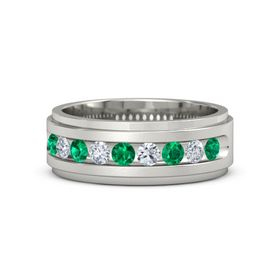 Men's 14K White Gold Ring with Emerald & Diamond