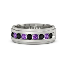 14K White Gold Ring with Black Onyx and Amethyst