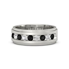 14K White Gold Ring with Black Onyx and White Sapphire