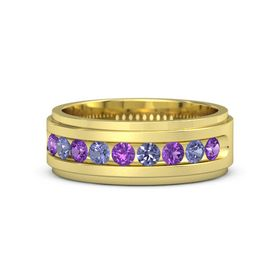 14K Yellow Gold Ring with Amethyst and Tanzanite