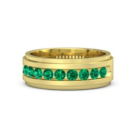 Men's 14K Yellow Gold Ring with Emerald
