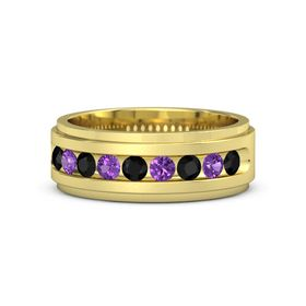 14K Yellow Gold Ring with Black Onyx and Amethyst