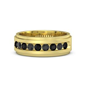 Men's 14K Yellow Gold Ring with Black Onyx & Black Diamond