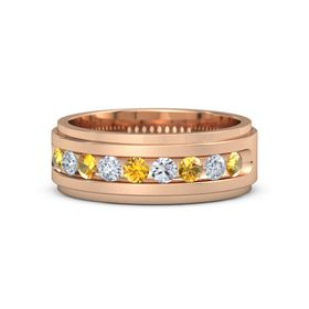 Men's 18K Rose Gold Ring with Citrine & Diamond