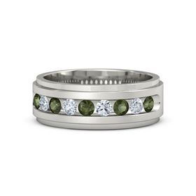 18K White Gold Ring with Green Tourmaline and Diamond
