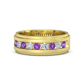 Men's 18K Yellow Gold Ring with Amethyst & Diamond