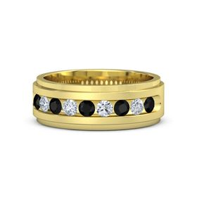 Men's 18K Yellow Gold Ring with Black Onyx & Diamond