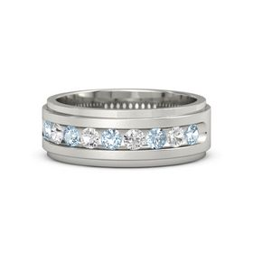 Men's Palladium Ring with Aquamarine & White Sapphire