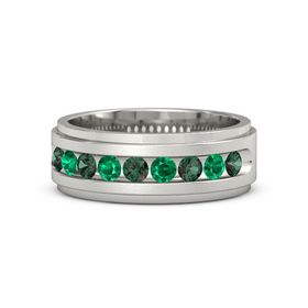 Palladium Ring with Alexandrite and Emerald