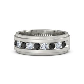 Men's Platinum Ring with Black Diamond & Diamond