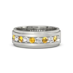 Platinum Ring with Citrine and White Sapphire