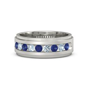 Men's Platinum Ring with Sapphire & Aquamarine