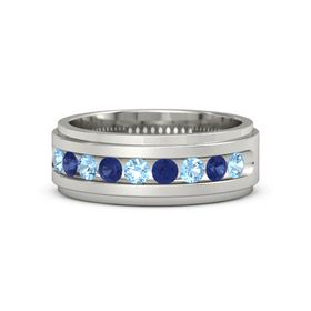Platinum Ring with Blue Topaz and Blue Sapphire