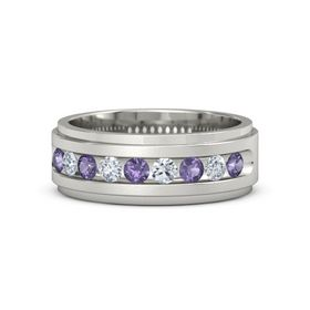 Platinum Ring with Iolite and Diamond
