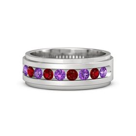 Men's Sterling Silver Ring with Amethyst & Ruby