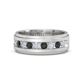 Sterling Silver Ring with Diamond and Black Diamond