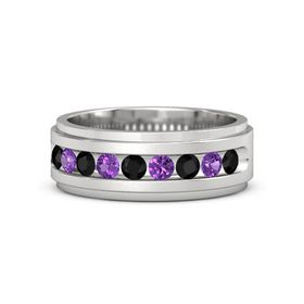 Men's Sterling Silver Ring with Black Onyx & Amethyst