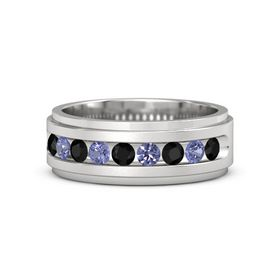 Men's Sterling Silver Ring with Black Onyx & Tanzanite