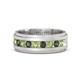 Men's Sterling Silver Ring with Peridot & Green Tourmaline