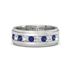 Men's Sterling Silver Ring with Sapphire & White Sapphire