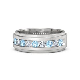 Men's Sterling Silver Ring with Blue Topaz & Diamond