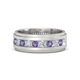 Men's Sterling Silver Ring with Iolite & Diamond