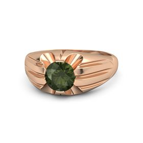 Men's Round Green Tourmaline 14K Rose Gold Ring