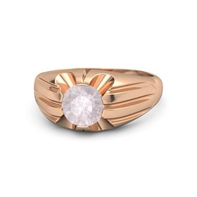 Men's Round Rose Quartz 14K Rose Gold Ring