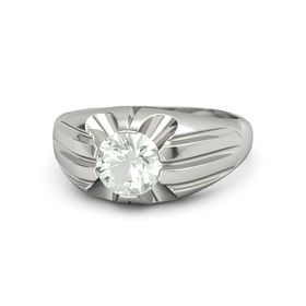 Men's Round Green Amethyst 14K White Gold Ring