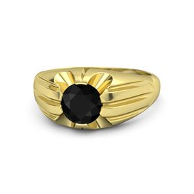 Men's Round Black Onyx 14K Yellow Gold Ring