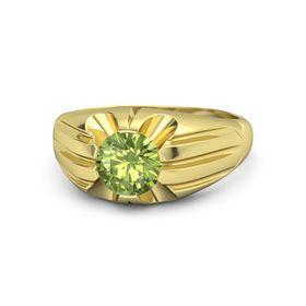 Men's Round Peridot 14K Yellow Gold Ring